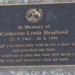 photo of Catherine Headland Memorial Plaque