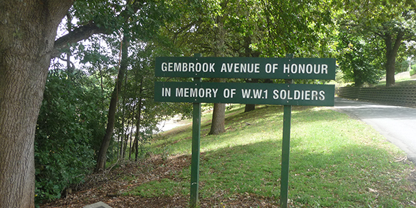 picture of Gembrook Avenue of Honour signage